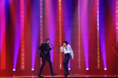 KYIV, UKRAINE - MAY 10, 2017:  Valentina Monetta & Jimmie Wilson from San Marino at the second semi-final rehearsal during Eurovision Song Contest, in Kyiv, Ukraine stock vector