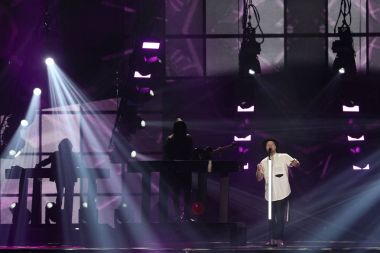 KYIV, UKRAINE - MAY 10, 2017: JOWST from  Norway at the second semi-final rehearsal during Eurovision Song Contest, in Kyiv, Ukraine stock vector