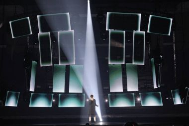 KYIV, UKRAINE - MAY 10, 2017:  Kristian Kostov from Bulgaria at the second semi-final rehearsal during Eurovision Song Contest, in Kyiv, Ukraine stock vector