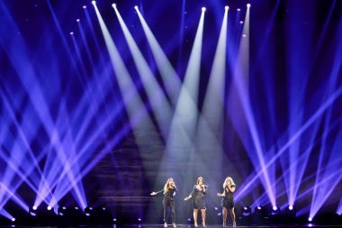 KYIV, UKRAINE - MAY 12, 2017: OG3NE from Netherlands at the Grand Final rehearsal during Eurovision Song Contest, in Kyiv, Ukraine stock vector