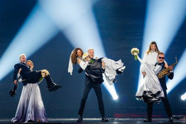KYIV, UKRAINE - MAY 12, 2017:  SunStroke Project from Moldova at the Grand Final rehearsal during Eurovision Song Contest, in Kyiv, Ukraine              Hey Mamma stock vector