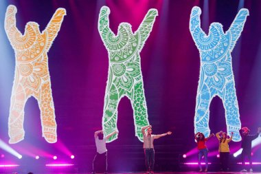 KYIV, UKRAINE - MAY 12, 2017: Francesco Gabbani from Italy at the Grand Final rehearsal during Eurovision Song Contest, in Kyiv, Ukraine stock vector