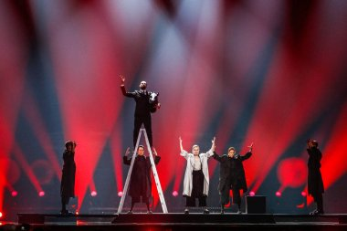KYIV, UKRAINE - MAY 12, 2017: DiHaj from Azerbaijan at the Grand Final rehearsal during Eurovision Song Contest, in Kyiv, aUkraine stock vector