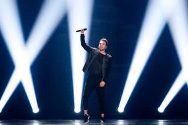 KYIV, UKRAINE - MAY 12, 2017:  Hovig from Cyprus at the Grand Final rehearsal during Eurovision Song Contest, in Kyiv, Ukraine stock vector