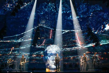 KYIV, UKRAINE - MAY 12, 2017:   O.Torvald from Ukraine at the Grand Final rehearsal during Eurovision Song Contest, in Kyiv, Ukraine stock vector