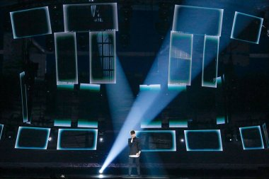 KYIV, UKRAINE - MAY 12, 2017:   Kristian Kostov from Bulgaria at the Grand Final rehearsal during Eurovision Song Contest, in Kyiv, Ukraine stock vector