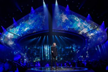 KYIV, UKRAINE - MAY 12, 2017:  Salvador Sobral from Portugal at the Grand Final rehearsal during Eurovision Song Contest, in Kyiv, Ukraine stock vector
