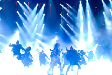 KYIV, UKRAINE - MAY 12, 2017:   Ruslana from Ukraine at the Grand Final rehearsal during Eurovision Song Contest, in Kyiv, Ukraine stock vector