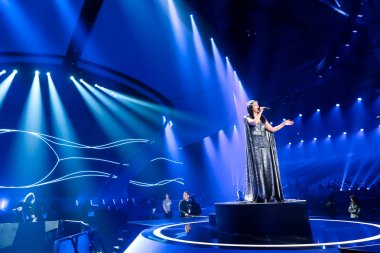 KYIV, UKRAINE - MAY 12, 2017:   Jamala from Ukraine at the Grand Final rehearsal during Eurovision Song Contest, in Kyiv, Ukraine stock vector