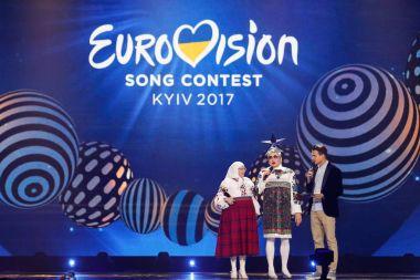 KYIV, UKRAINE - MAY 12, 2017:   Verka Serduchka from Ukraine at the Grand Final rehearsal during Eurovision Song Contest, in Kyiv, Ukraine stock vector