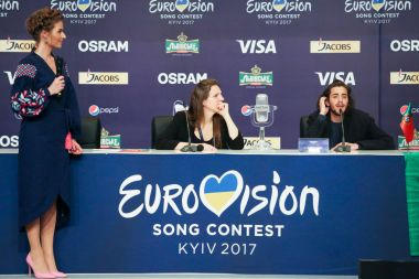 KYIV, UKRAINE - MAY 14, 2017:   Salvador Sobral from Portugal at the Press conference during Eurovision Song Contest, in Kyiv, Ukraine stock vector