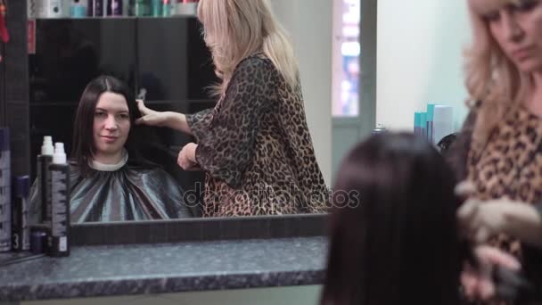 Hairstylist straightening the long black hair of a female client using a heated hair straightener