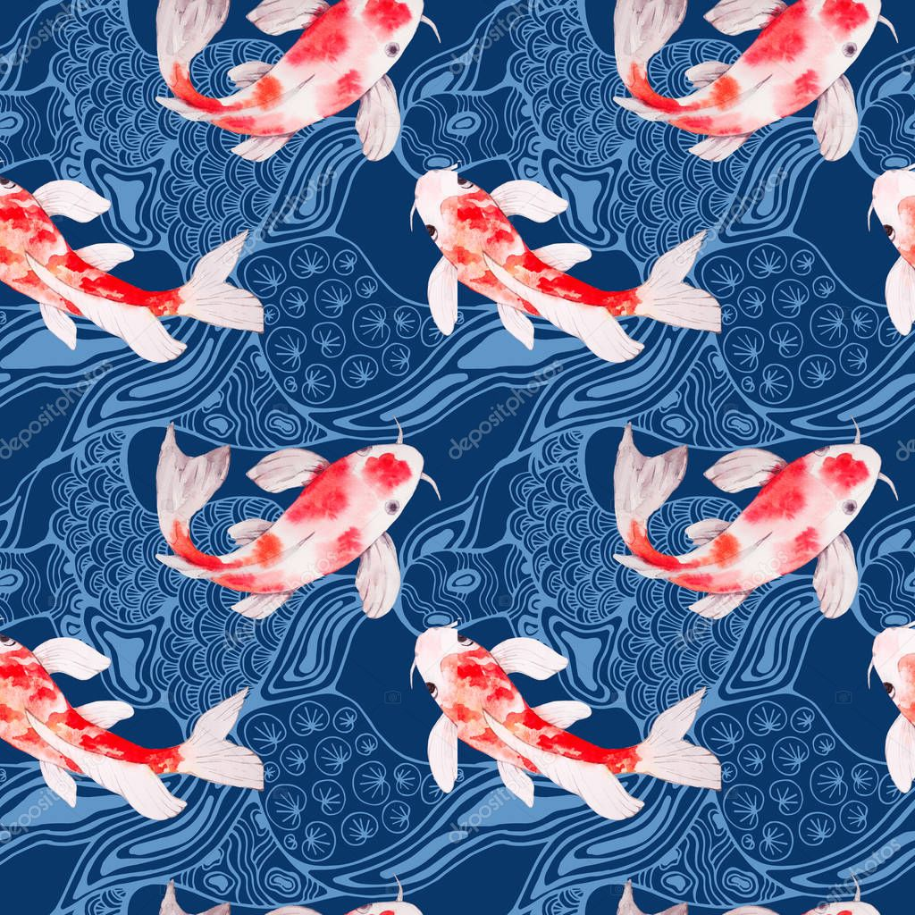 Watercolor koi fish seamless pattern with waves on backdrop