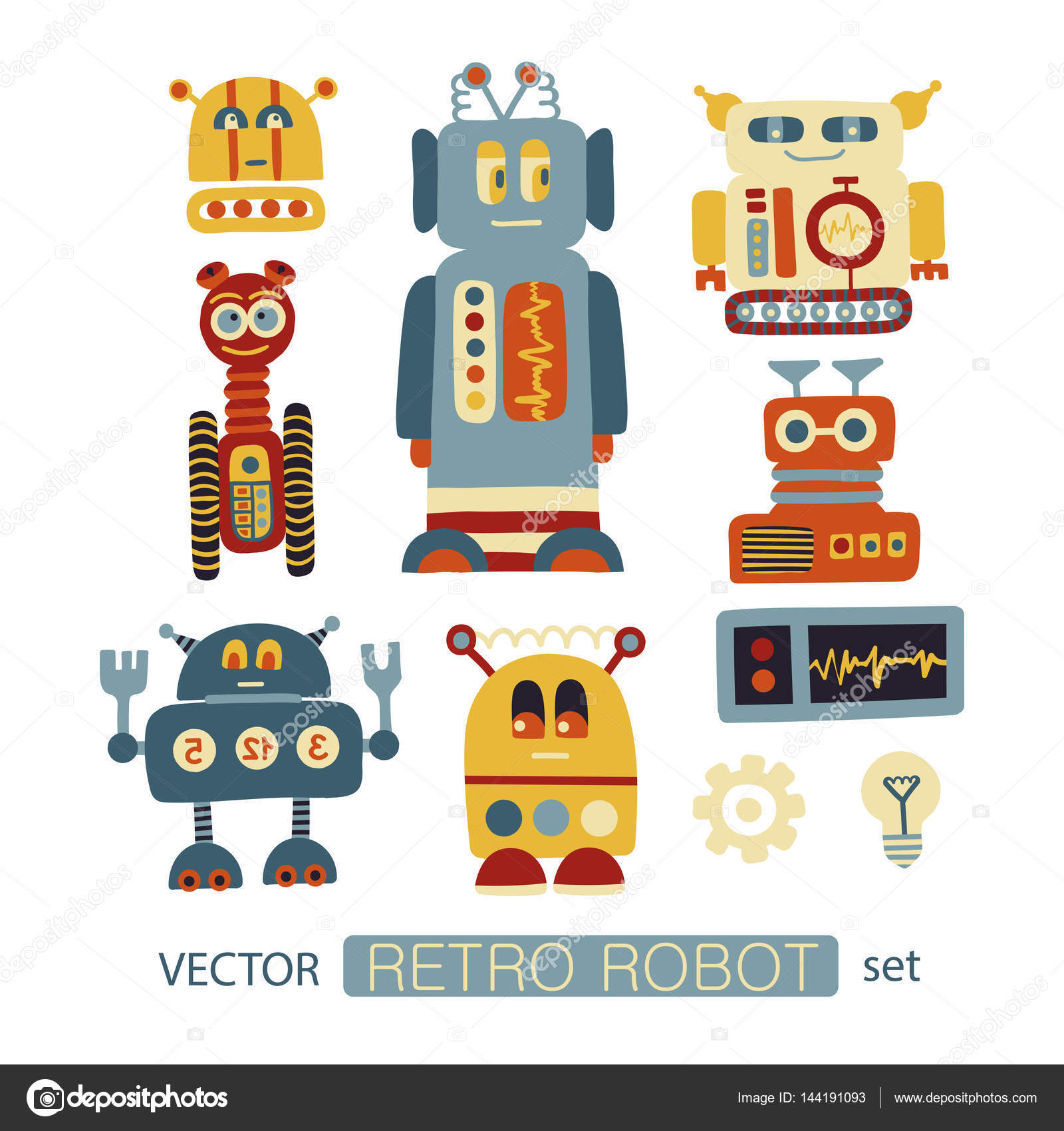 colorful vector clipart set with retro robots � stock