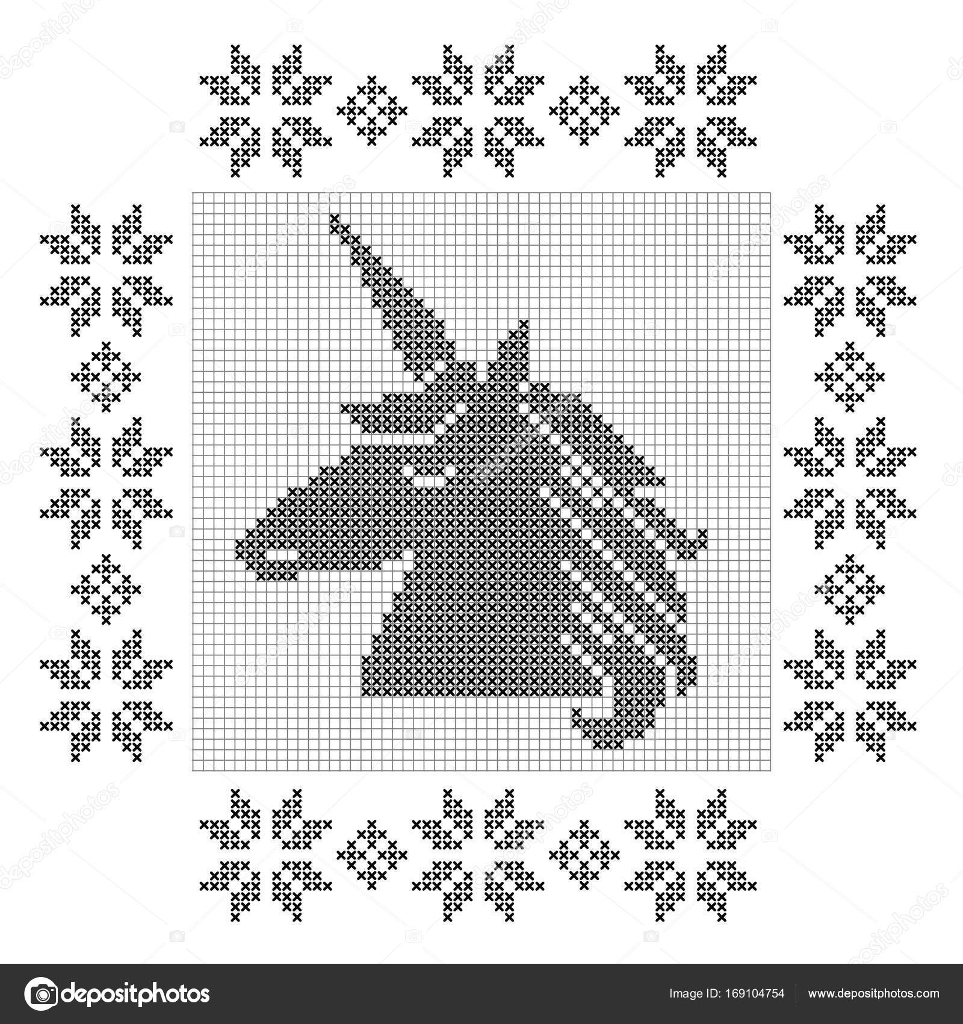 Punto de Cruz unicornio patrón — Archivo Imágenes Vectoriales ...