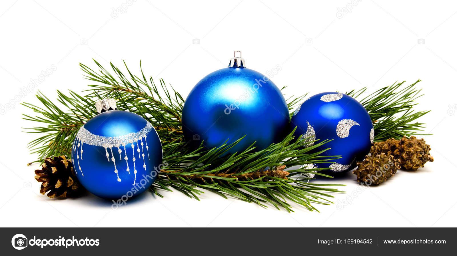 Boules De Noel Decoration Bleu Avec Cones De Sapin Photographie