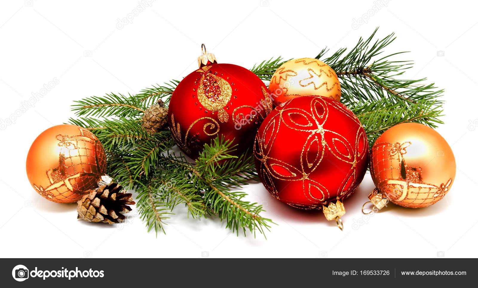 Weihnachten dekoration rot goldenen gelben kugeln mit - Dekoration rot ...