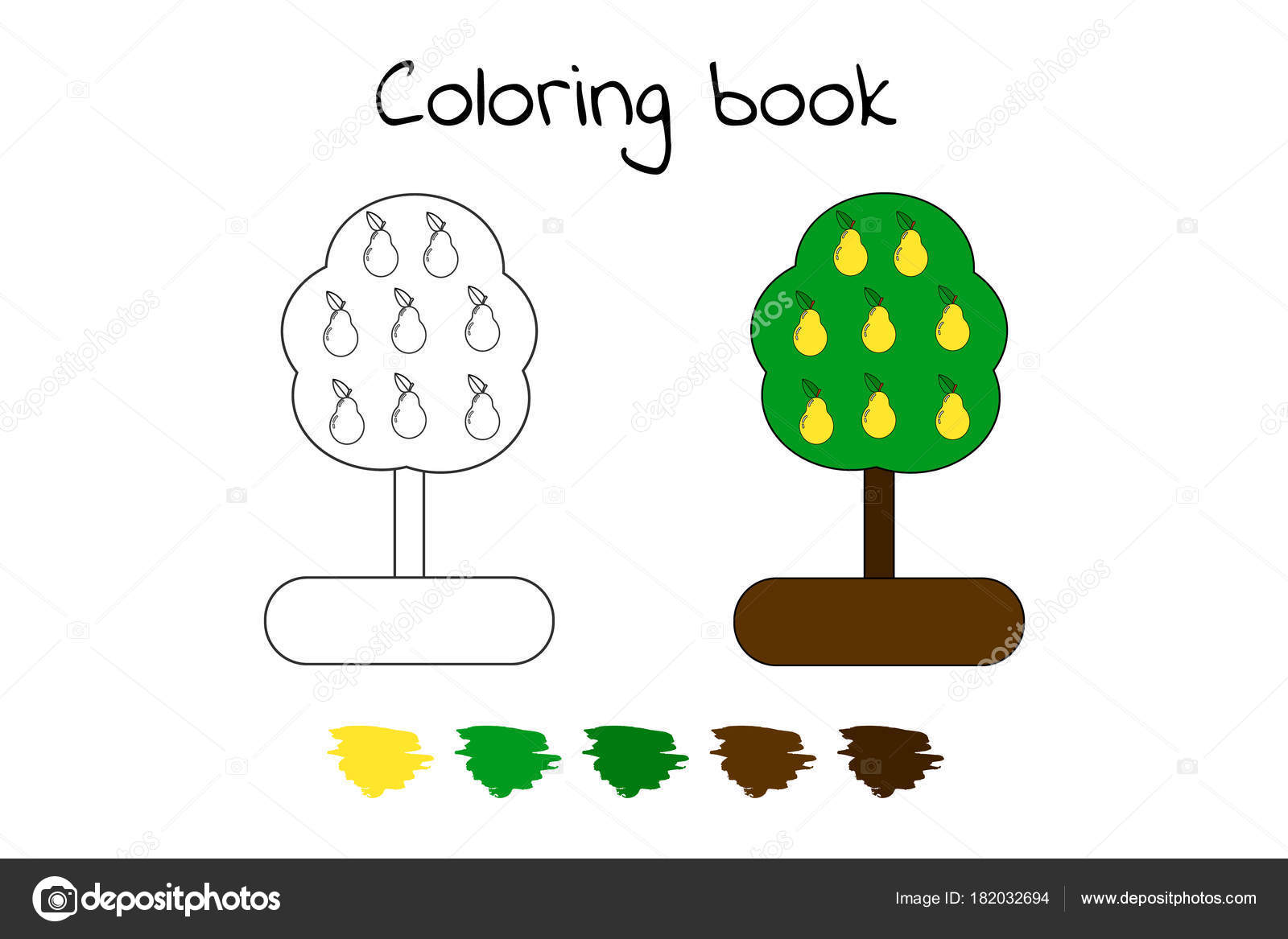 Coloring book for children. vector illustration. pears — Stock ...