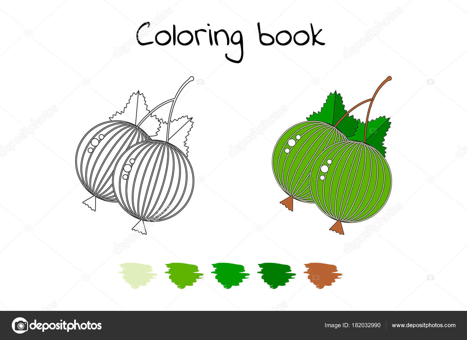 Coloring book for children. Vector illustration. Gooseberries wi ...
