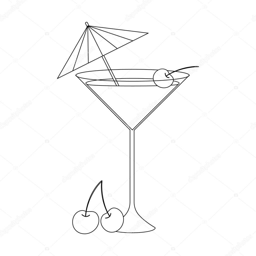 Раскраска для детей. Векторные иллюстрации. коктейль с c ...