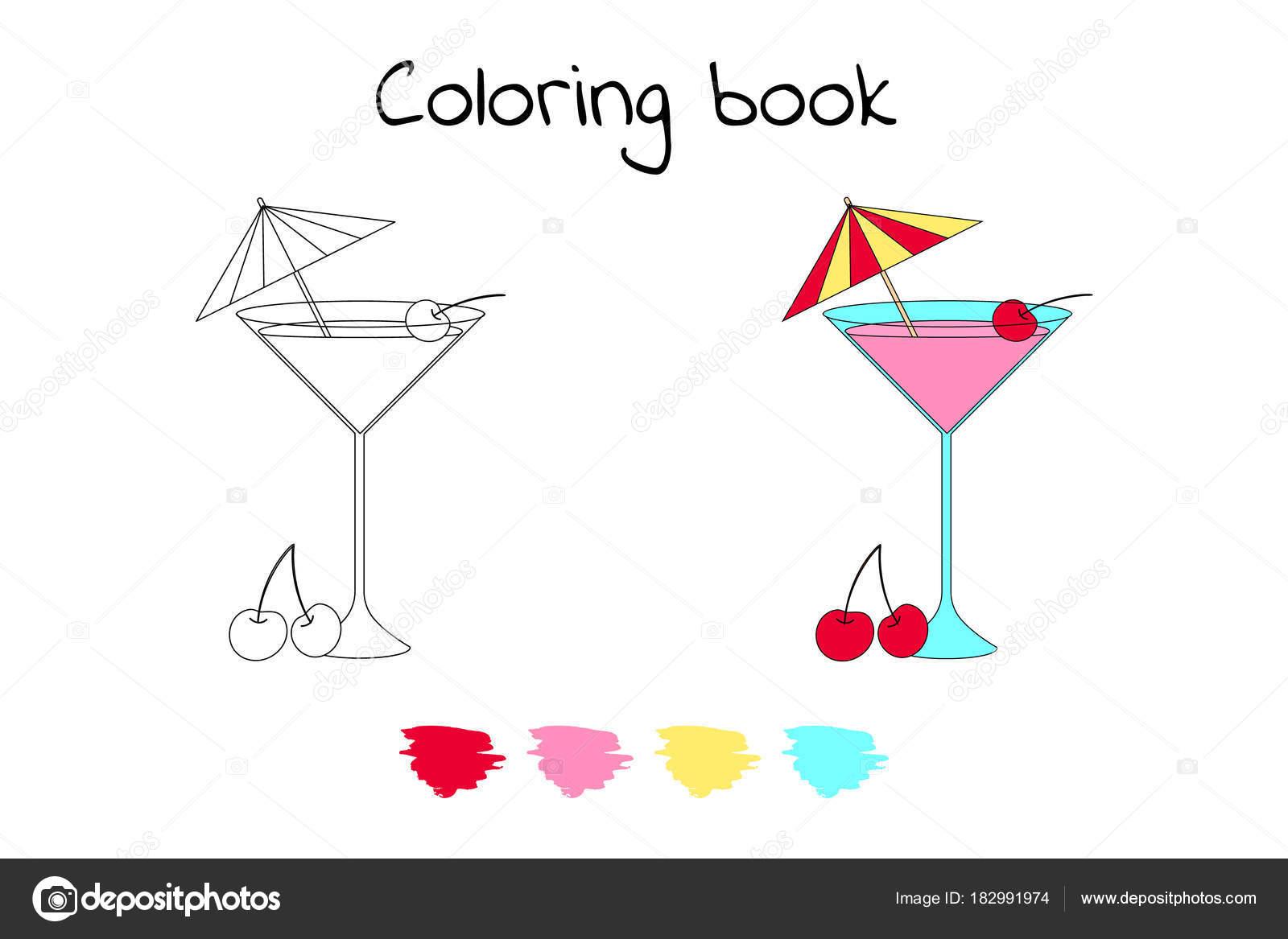Libro de colorear para los niños. Ilustración de vector. cóctel con ...