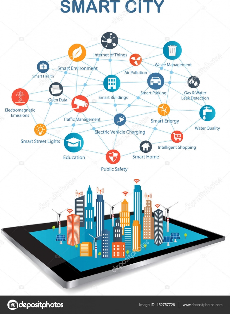 Smart City and wireless communication network — Stock Vector ...