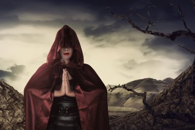 asian witch woman praying