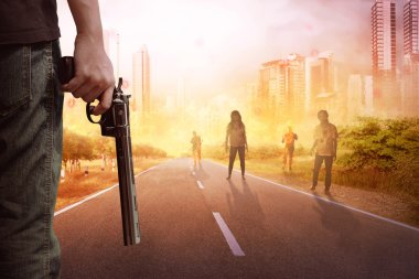 The guy with shirt holding gun looking at zombies on the street of burned city stock vector