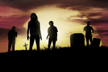 Silhouette zombies on the cemetery walking around at sunset stock vector