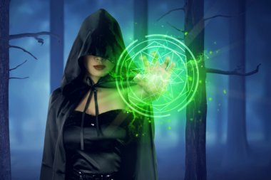 witch woman showing green pentagram