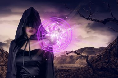 asian witch woman showing pentagram