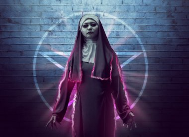 Scary asian nun showing spell power