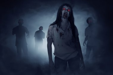 scary zombies walking at night