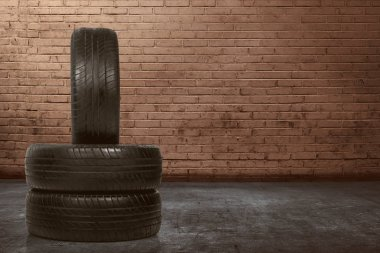 Group of worn tires