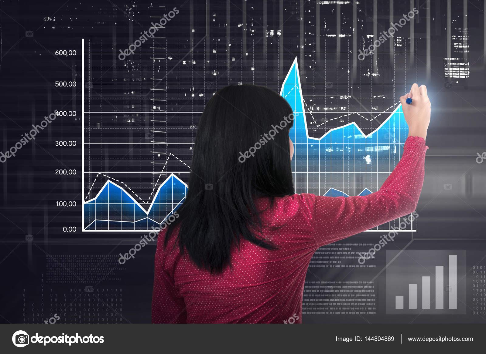 Zena Kresleni Grafu Digitalni Trh Stock Fotografie C Leolintang