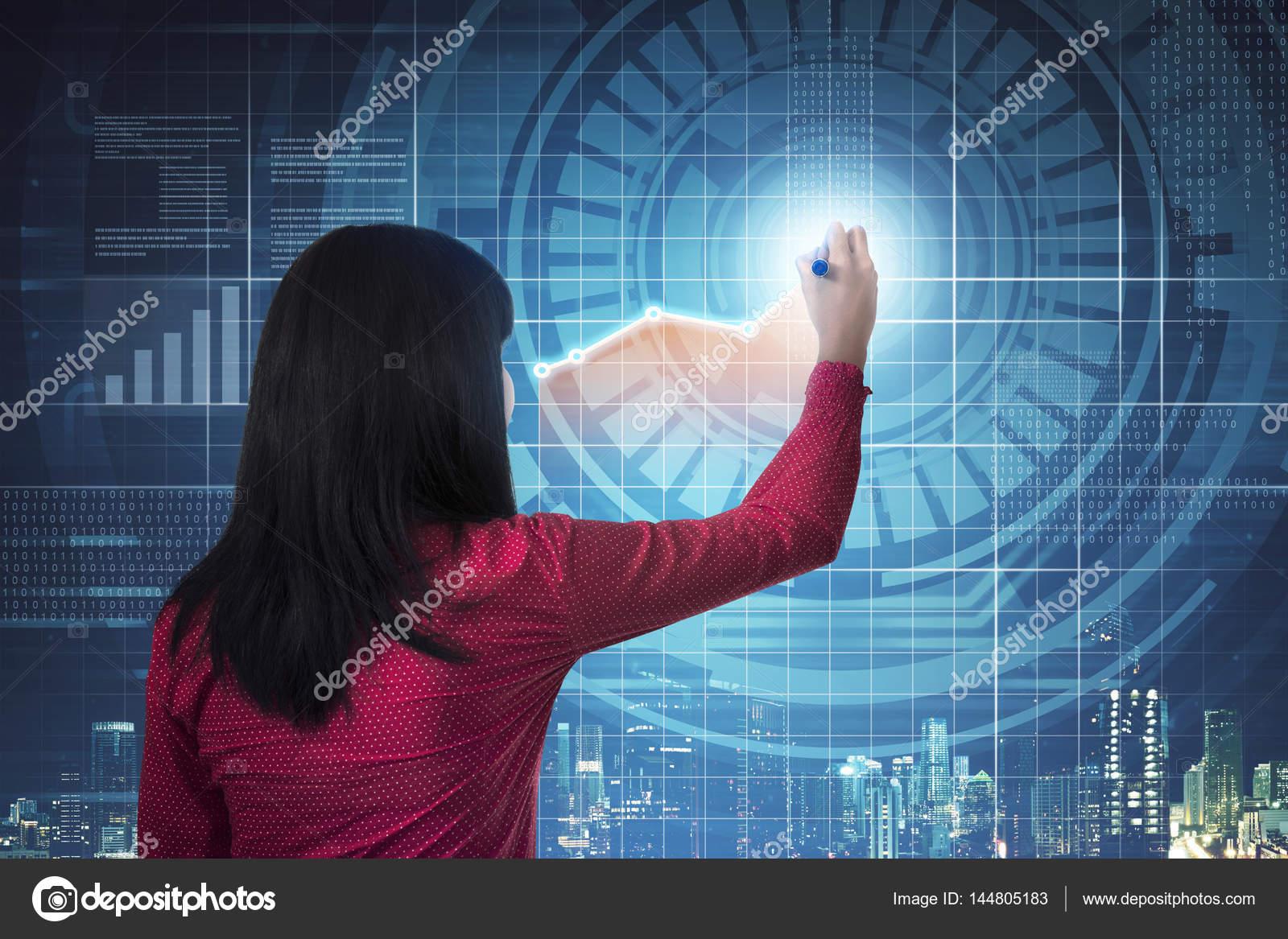 Asijske Zeny Kresba Digitalni Graf Stock Fotografie C Leolintang