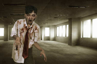 Bloody asian zombie man with mad face