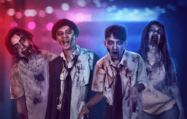 Portrait group of asian bloody zombies with wounded face