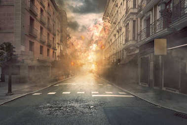 destruction city with fires and explosion