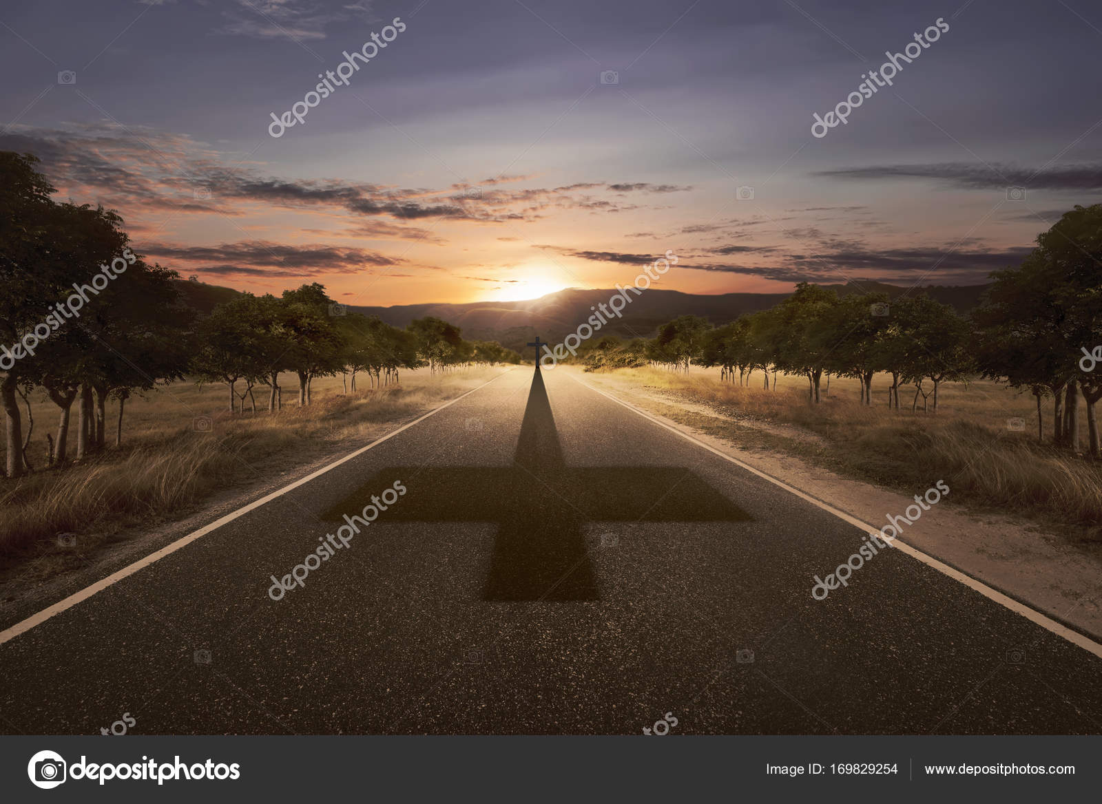 Cross at the end of the road with his shadow — Stock Photo ... At The Roads End