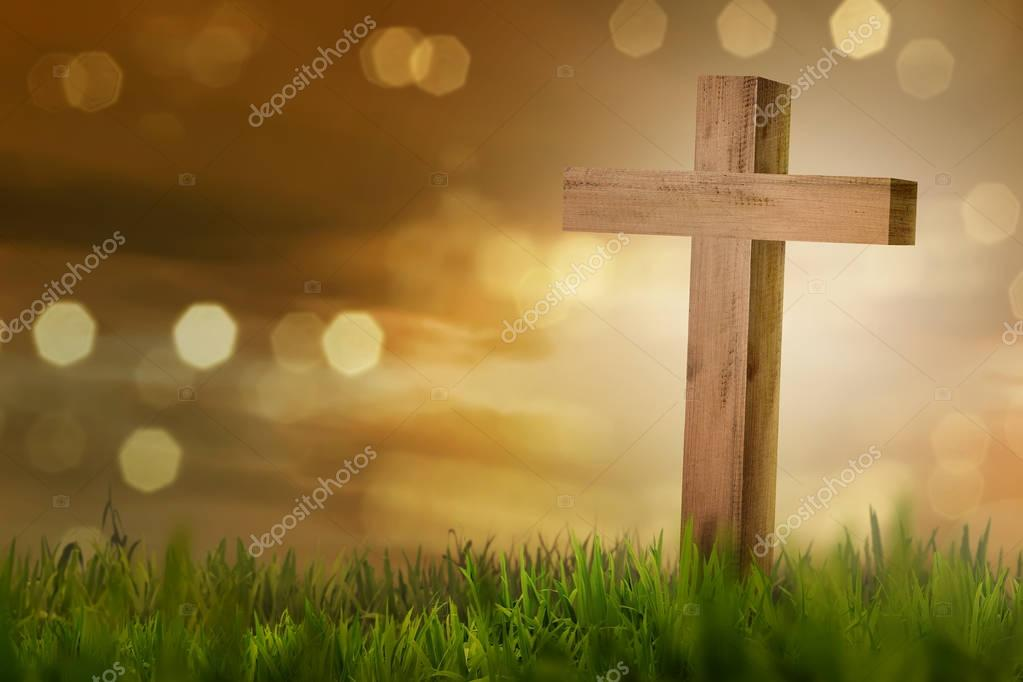 Holy cross on field with green grass against blur light background