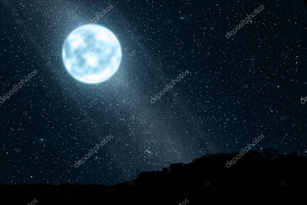 Bright moonlight with many stars on the sky at night