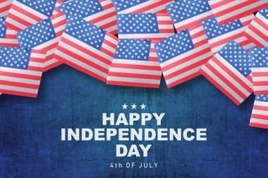 American flag with Happy Independence day text. Happy Independence day