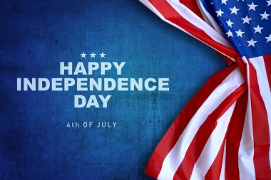 Happy Independence day message with american flag. Happy Independence day
