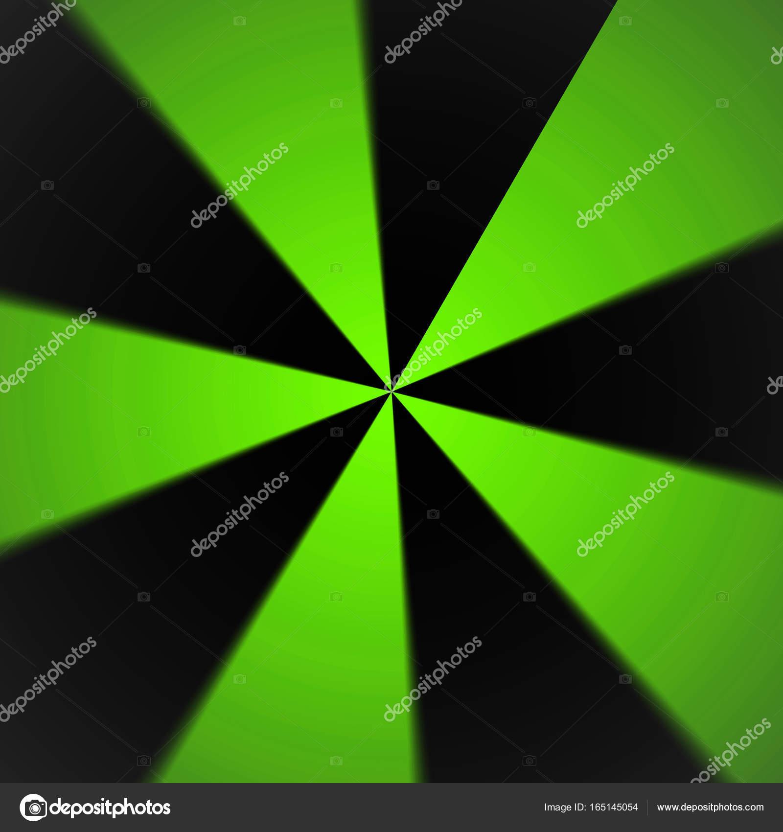 Sfondo Astratto Verde E Nero Modello Radiale Foto Stock