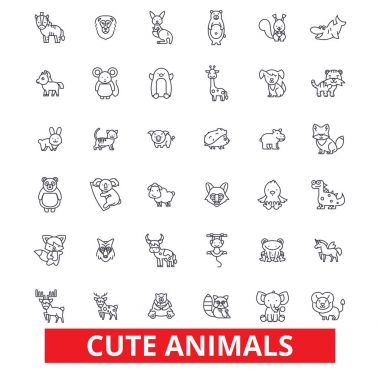 Cute funny puppy baby animals, cat, dog, owl, monkey, rabbit, fish, teddy bear line icons. Editable strokes. Flat design vector illustration symbol concept. Linear signs isolated on white background