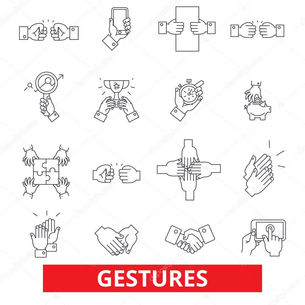 Touch gestures, body language, thumbs up, holding tablet, swipe, mobile hands line icons. Editable strokes. Flat design vector illustration symbol concept. Linear signs isolated on white background