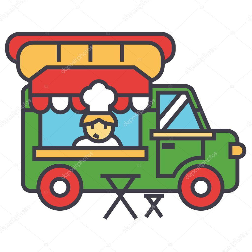 Carro de comida rápida, comida callejera, concepto de móvil de la ...
