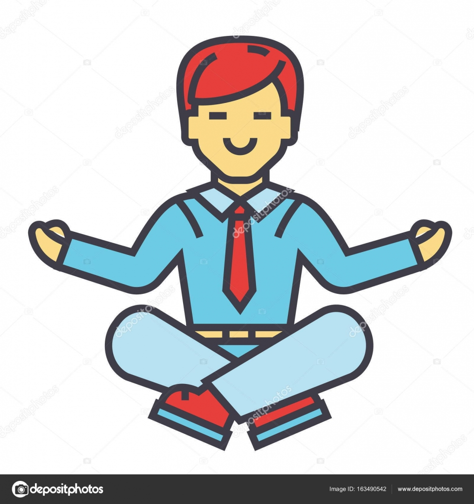Businessman Sitting In Yoga Pose Business Meditation Corporate Office Worker Relaxation Concept Line