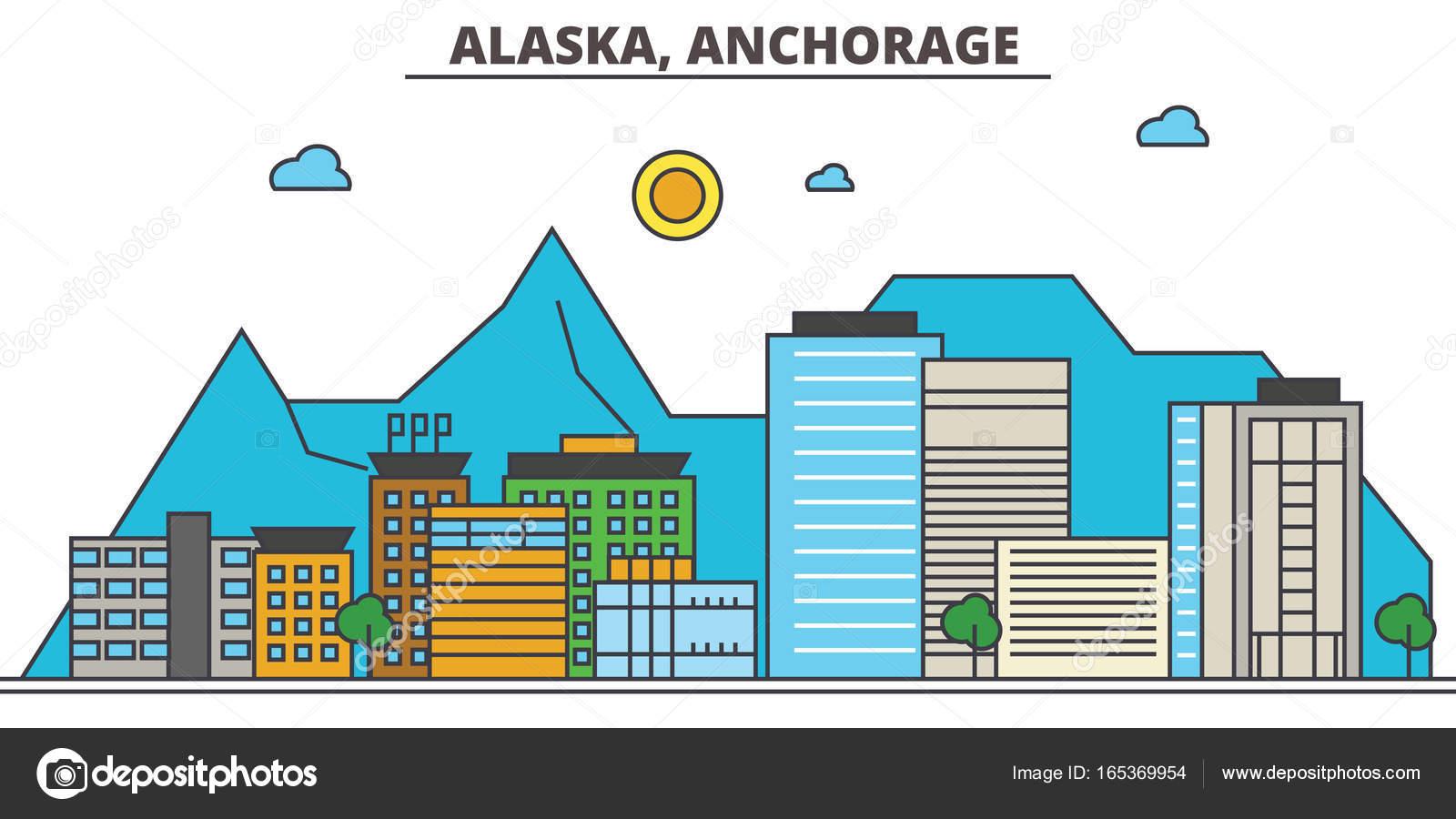 City Skyline: Architektur, Gebäude, Straßen, Kontur, Landschaft, Panorama,  Sehenswürdigkeiten. Editierbare Striche. Flaches Design Line Vektor  Illustration ...